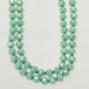 "Mint 60"" Faceted Bead Necklace Knotted"